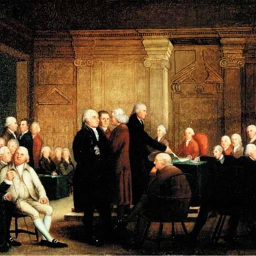 O Congresso da Filadélfia aprovou por unanimidade a declaração de independência das 13 Colônias da União norte-americana
