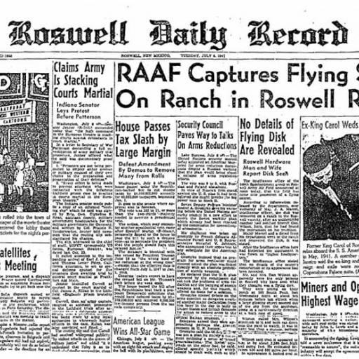 Caíu um disco voador em Roswell, nos Estados Unidos