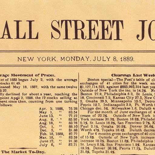 Primeira edição do jornal americano Wall Street Journal