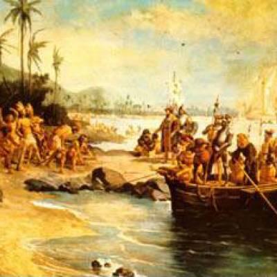 Uma expedição de navegadores portugueses chegou à Baía da Guanabara no Brasil