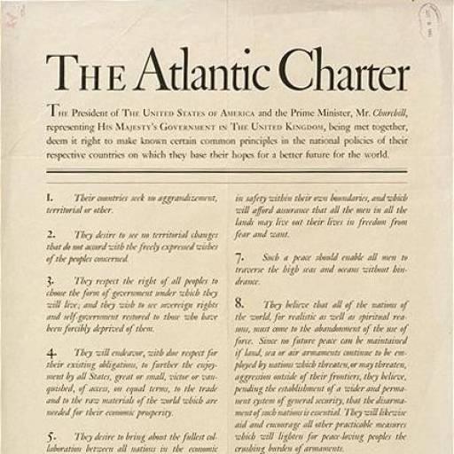 A Carta Atlântica foi assinada por Churchill e Roosevelt