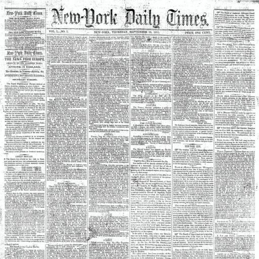 Foi publicado o primeiro número do The New York Times