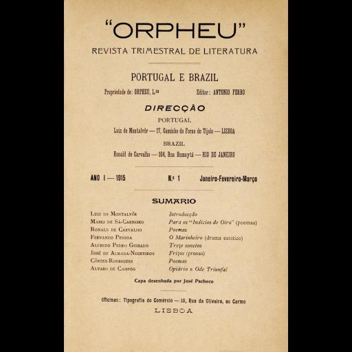 Foi publicado o primeiro número da revista Orpheu